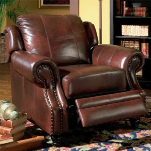 Princeton Rolled Arm Leather Recliner