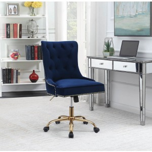 Modern Blue Velvet Office Chair