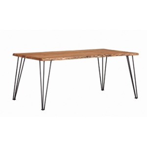 Sherman Rectangular Dining Table Natural Acacia & Matte Black