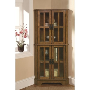 Curio Cabinets 4 Shelf Corner Curio Cabinet with Windowpane-Style Door Fronts