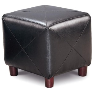 Ottomans Contemporary Faux Leather Cube Ottoman