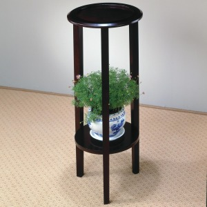 Accent Stands Round Plant Stand Table with Bottom Shelf