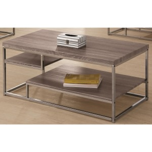 7037 2 Shelf Coffee Table with Wood Top and Chrome Frame