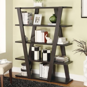 Bookcases Modern Bookshelf with Inverted Supports & Open Shelves