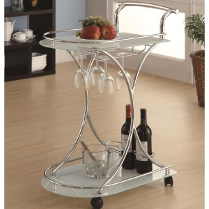 Kitchen Carts Serving Cart with 2 Frosted Glass Shelves