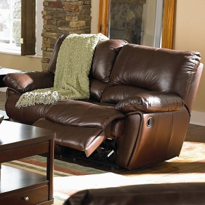 Clifford Brown Leather Double Power Reclining Love Seat
