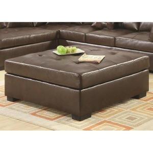 Darie Leather Cocktail Ottoman with Wood Feet