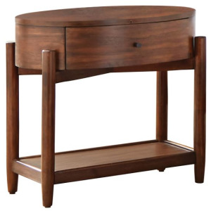 San Mateo Oval Nightstand With Wood Top Desert Teak