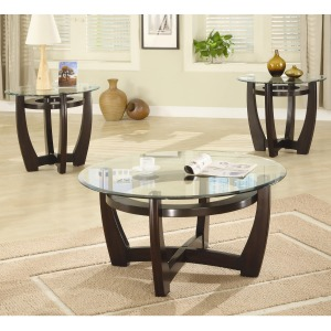 3 Piece Occasional Table Sets Contemporary 3 Piece Occasional Table Set with Glass Tops