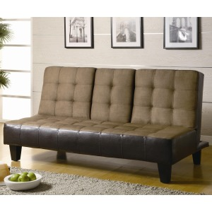 Sofa Beds Contemporary Two Tone Convertible Sofa Bed with Drop Down Console