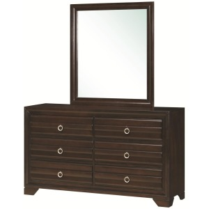 Bryce 20347 6-Drawer Dresser and Rectangular Mirror with Wooden Frame Combination
