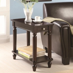 Accent Tables Cappuccino Chairside Table with Lower Shelf