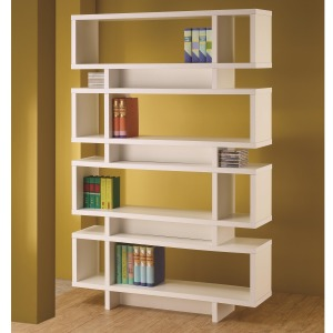 Bookcases Contemporary White Finish Open Bookcase