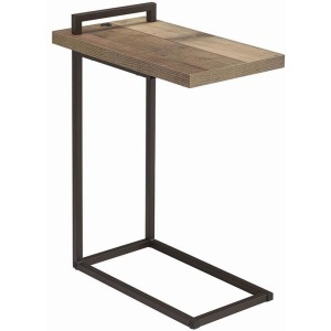 Rectangular Top Accent Table With USB Port Weathered Pine