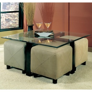 Cermak Contemporary Square Metal Cocktail Table with Glass Top