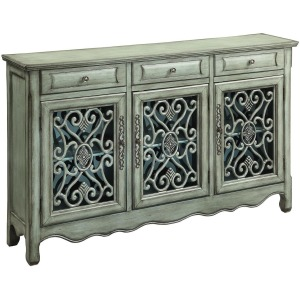 Accent Cabinets Traditional Accent Cabinet in Antique Green Finish