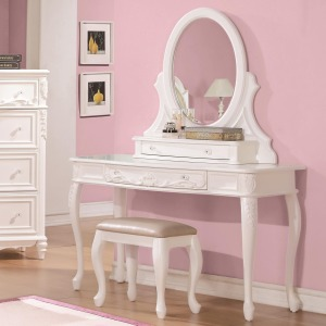 Caroline Vanity Desk & Mirror with Cabriole Legs