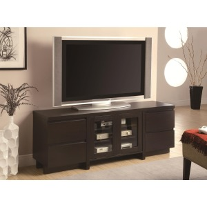 TV Stands Contemporary TV Console with 4 Drawers & 2 Glass Doors