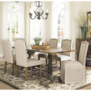Parkins 7 Piece Dining Table and Chair Set with Parson Chairs & Parson Chairs w/ Skirt