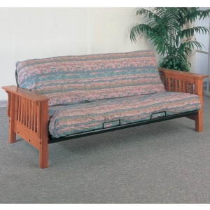 Futons Casual Futon Frame and Mattress with Mission Slat Side Detail