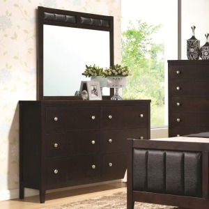Carlton 6 Drawer Dresser and Upholstered Mirror
