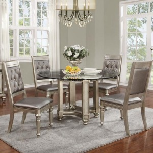 Danette 5 Piece Round Glass Table & Chair Set