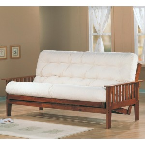 Futons Casual Futon Frame and Mattress Set with Slat Side Detail