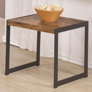 70402 Rustic End Table w/ Metal Base