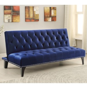 Sofa Beds and Futons - Transitional Sofa Bed with Velvet Upholstery & Nailhead Trim
