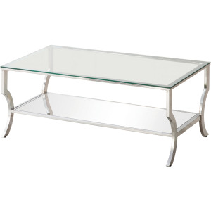 Contemporary Chrome Coffee Table with Mirrored Shelf