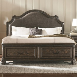 Carlsbad California King Storage Bed with Upholstered Headboard