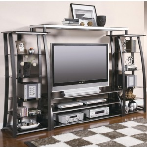 Wall Units Contemporary Metal and Glass Wall Unit