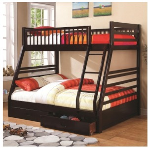 Bunks Twin over Full Bunk Bed with 2 Drawers and Attached Ladder