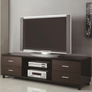 TV Stands 4 Drawer Two Tone TV Stand with 2 Shelves