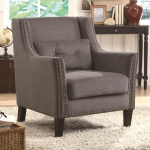 Accent Seating Accent Chair with Nailhead Trim and Accent Pillow