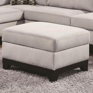 Mason Large Velvet Storage Ottoman w/ Exposed Wood