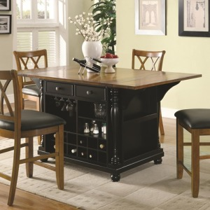 Slater Country Cherry and Black Kitchen Island
