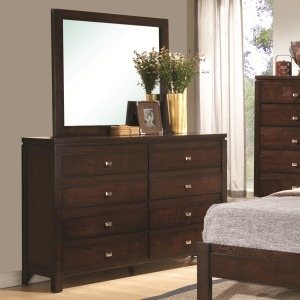 Cameron 8-Drawer Dresser and Square Mirror Combination