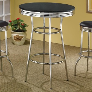 Cleveland 50\'s Soda Fountain Bar Table with Black Top