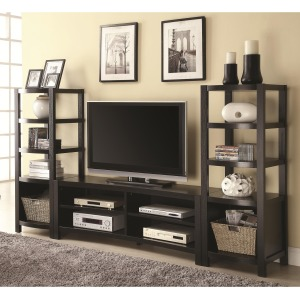 Wall Units Curved Front TV Console & 2 Media Towers