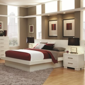 Jessica Queen Pier Platform Bed with Rail Seating and Lights