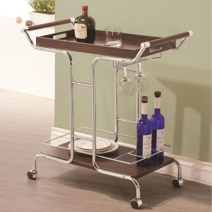 Kitchen Carts Contemporary Serving Cart with Stemware Rack and Casters