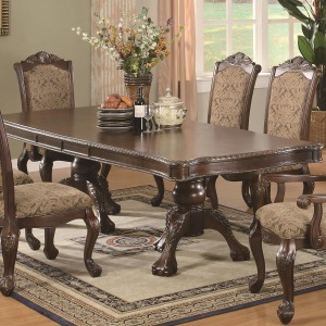 Andrea Traditional Double Pedestal Dining Table