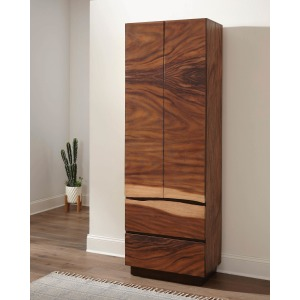 Scott Living Rustic Smoky Walnut Shoe Tower