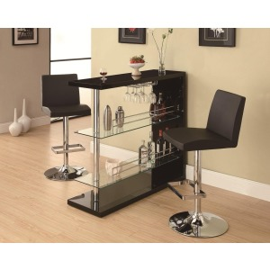 Bar Units and Bar Tables Sleek Contemporary Bar Set with Stools