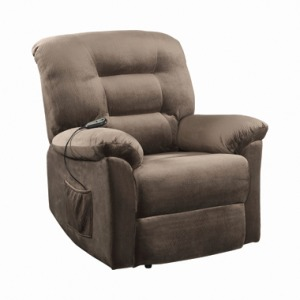 Upholstered Power Lift Recliner Brown Sugar