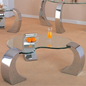 Custer Contemporary Cocktail Table with Metal Base and Kidney Glass Top