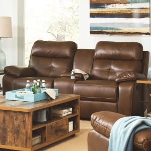 Damiano Casual Faux Leather Reclining Loveseat with Button Tuft Detailing and Cupholder Storage Cons
