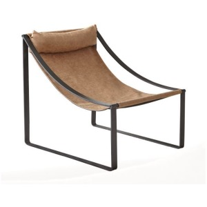 Sled Base Accent Chair Light Brown And Matte Black
