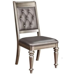 Bling Game Hollywood Glam Metallic Platinum Side Chair